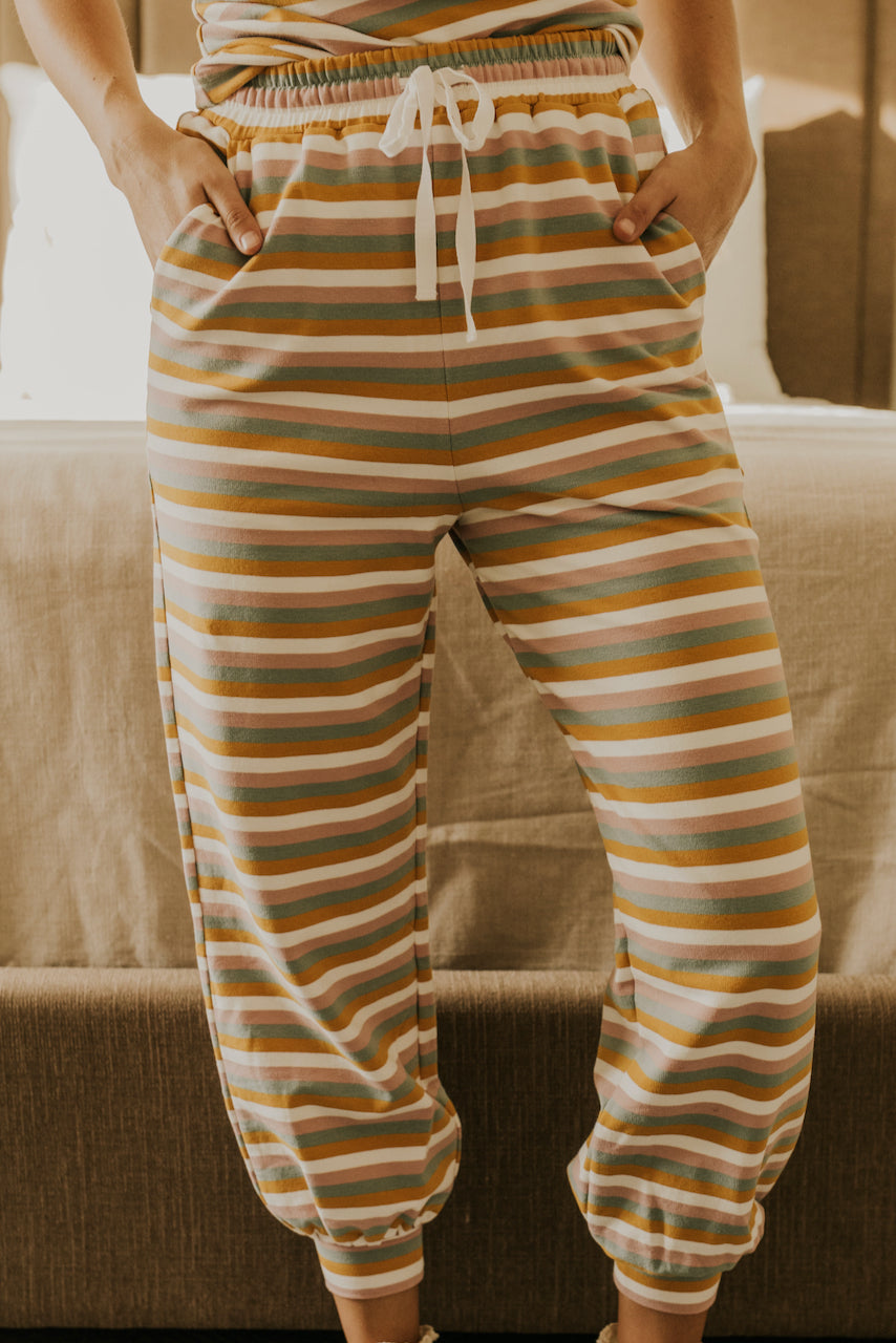 Multi Stripe Colorful Pajama Bottoms | ROOLEE