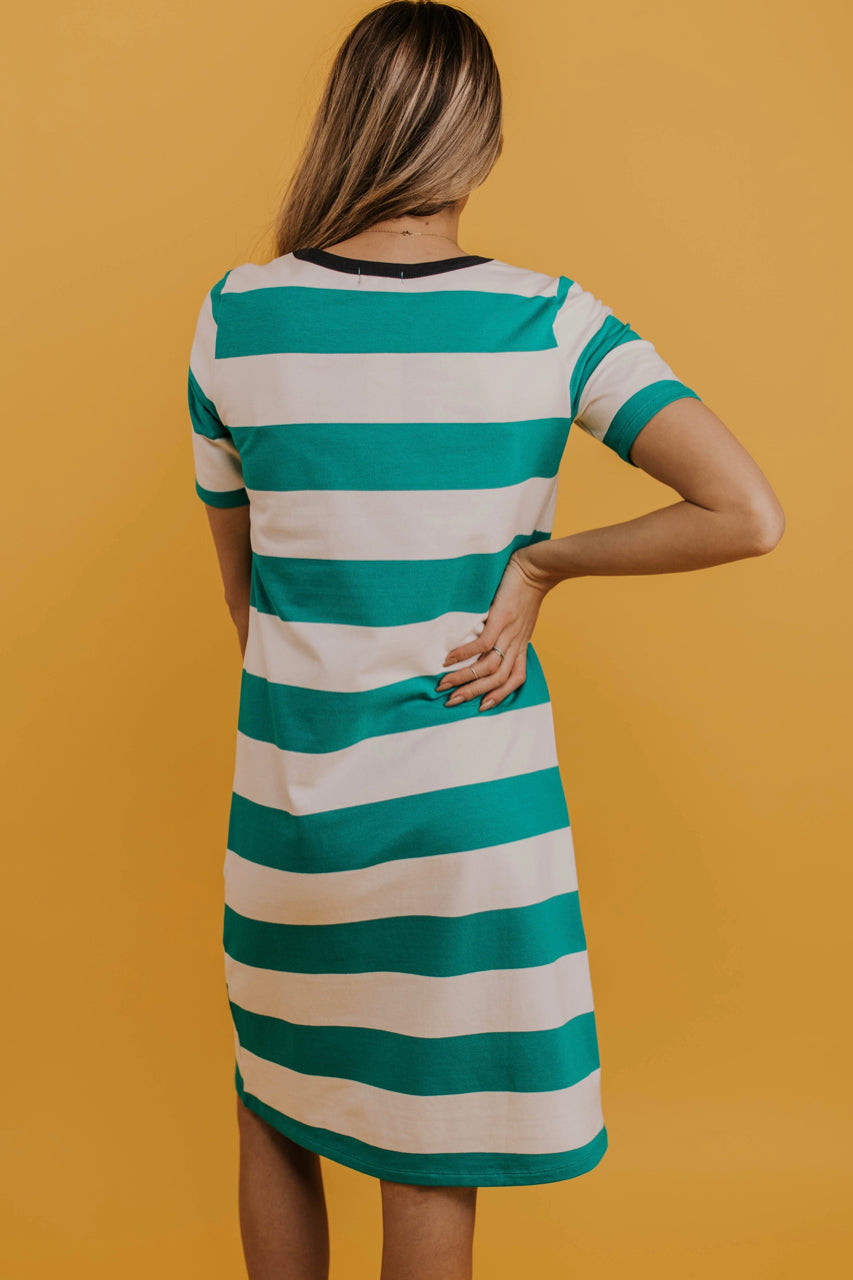 Green Stripe Dress Outfit Ideas | ROOLEE