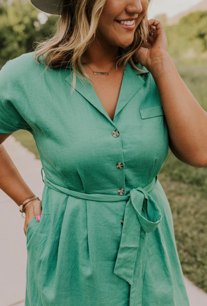 Green Wrap Midi Dress | ROOLEE