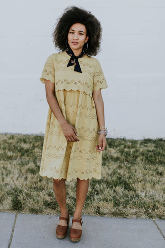 Light Yellow Gold Eyelet Lace Dress | ROOLEE