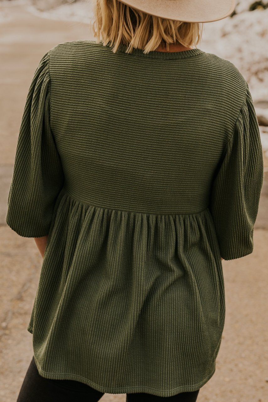Holiday Green Baby Doll Blouse | ROOLEE