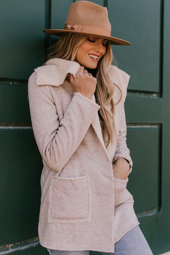 Faux Fur-Lined Cardigan with Pockets | ROOLEE