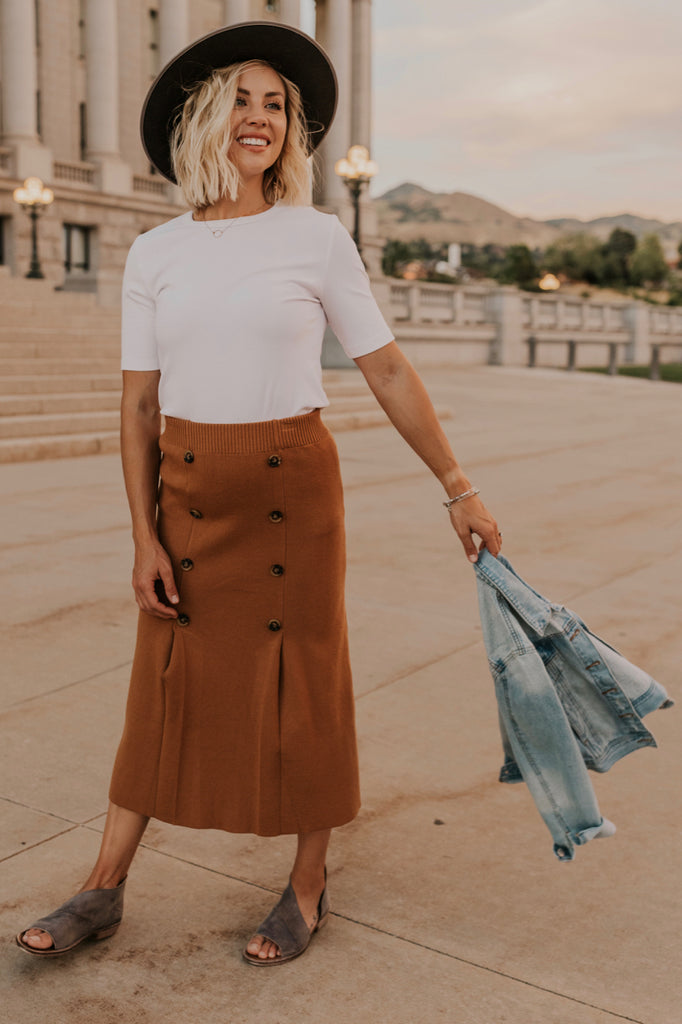 Jeannette Button Skirt