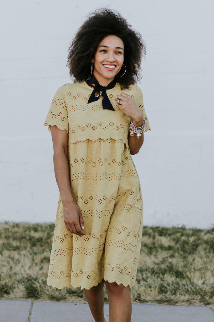 Sabrina Eyelet MOM Dress in Yellow | ROOLEE