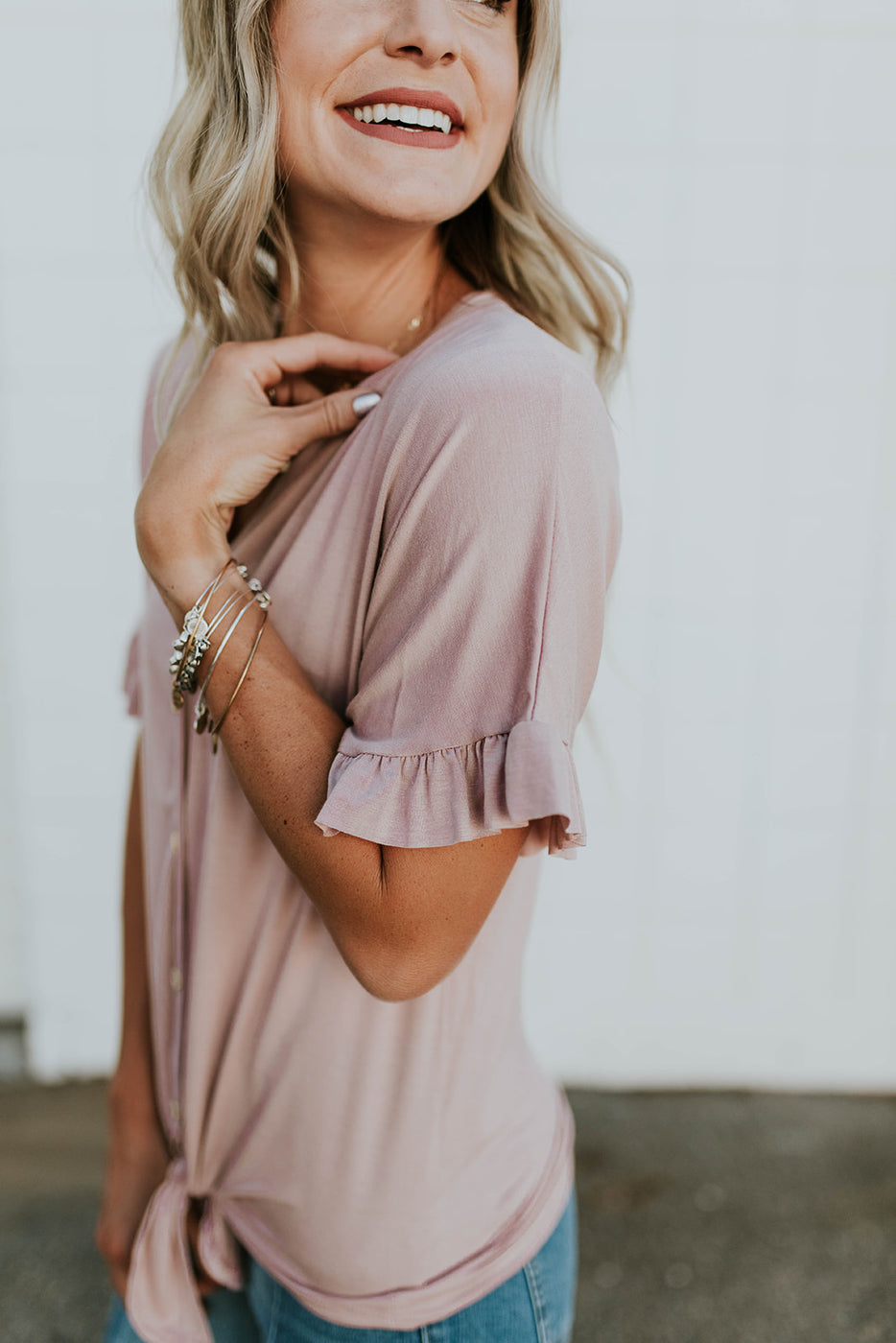 Short Ruffle Sleeve Top in Rose | ROOLEE