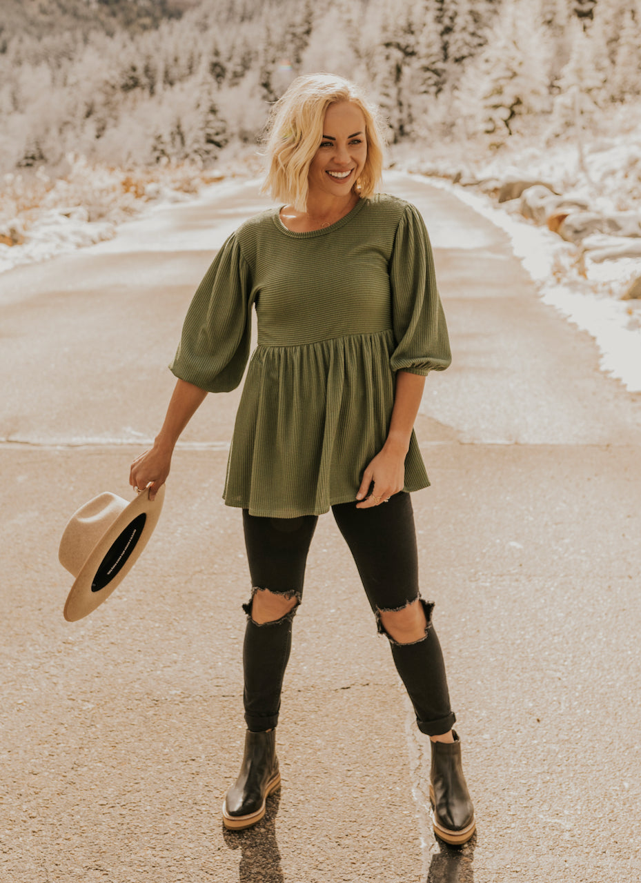 Holiday Green Babydoll Top | ROOLEE