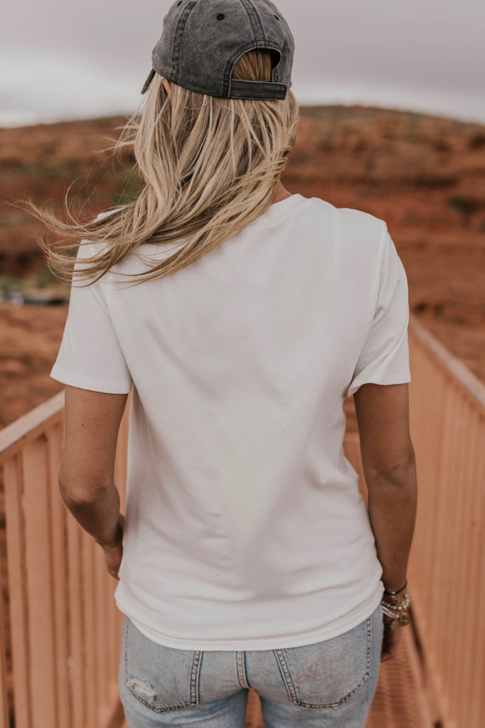 Women's White Graphic Tee | ROOLEE