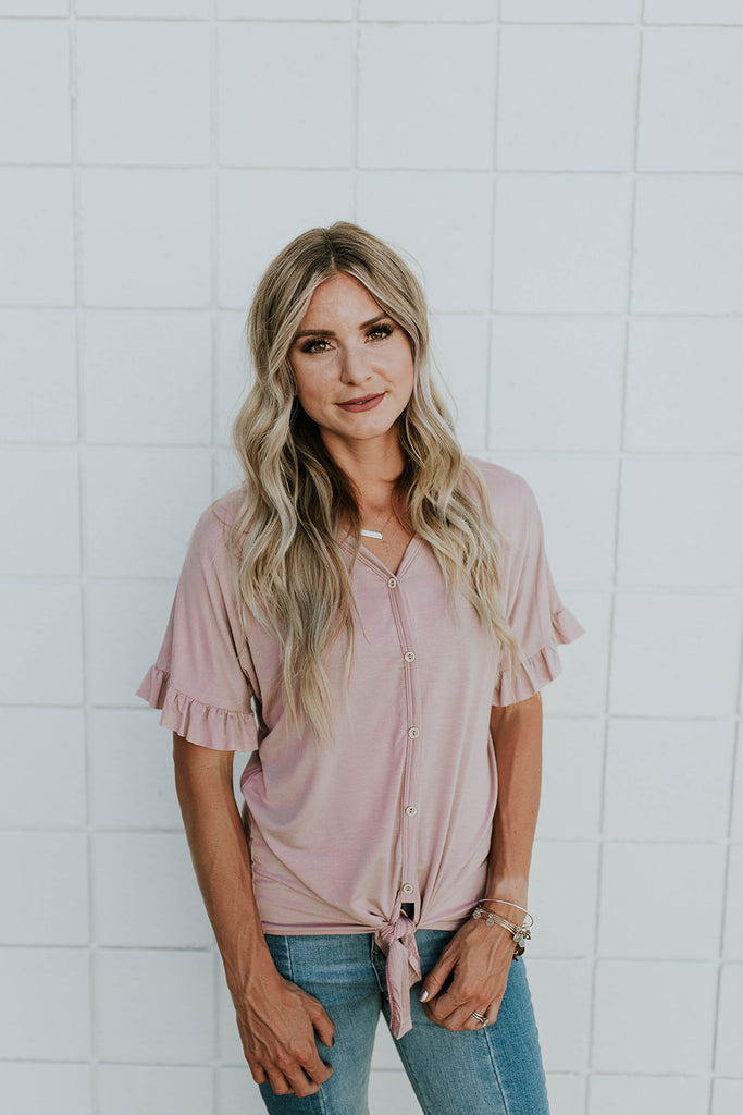 Short Sleeve Tie Blouse in Mauve | ROOLEE