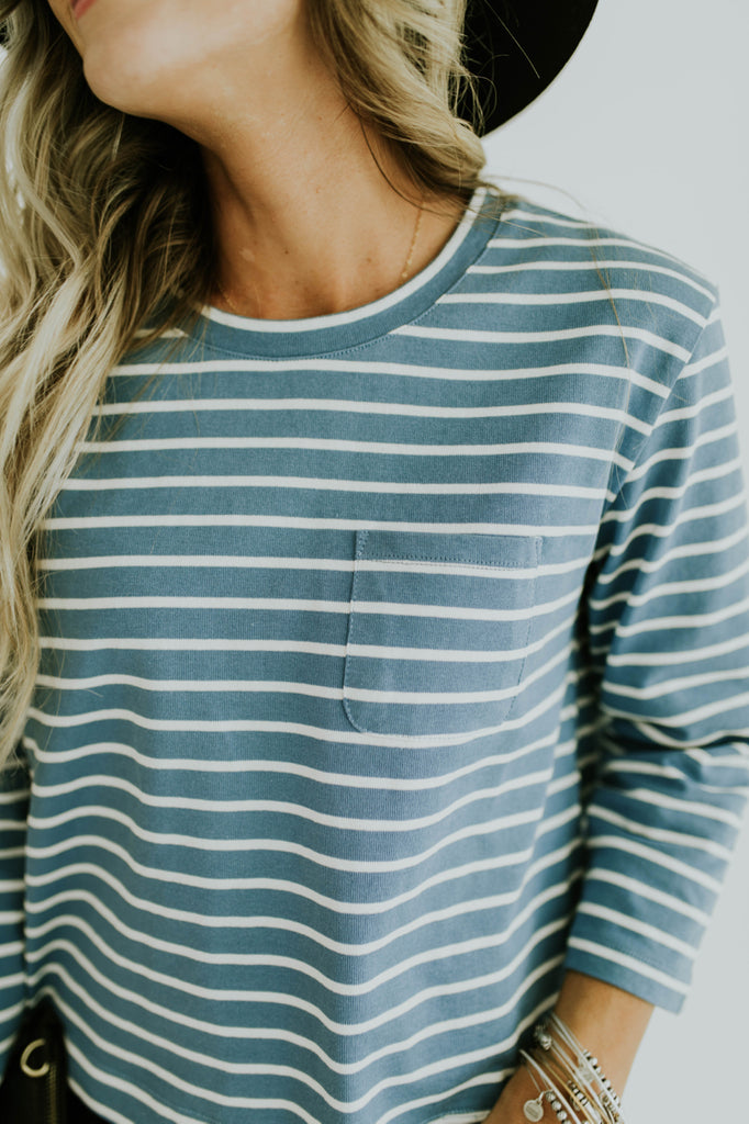 Casual Stripe Top in Blue | ROOLEE