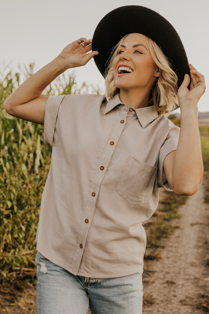 Gray Button Up Top | ROOLEE