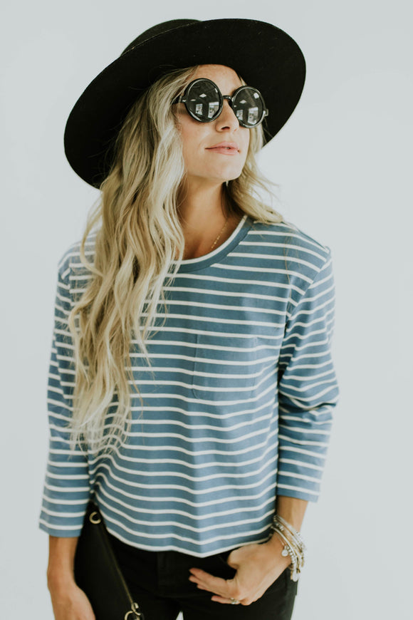 Mirae Stripe Top in Blue | ROOLEE