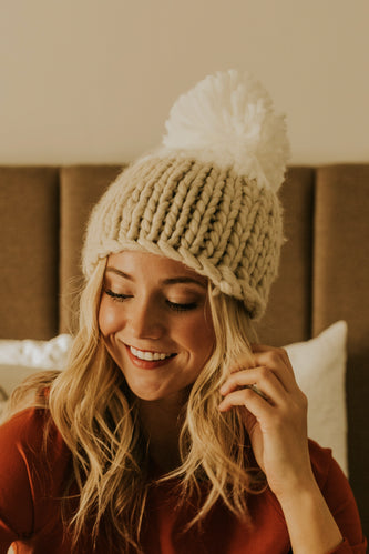 Free People Natural Cozy Knit Pom Beanie for Winter | ROOLEE