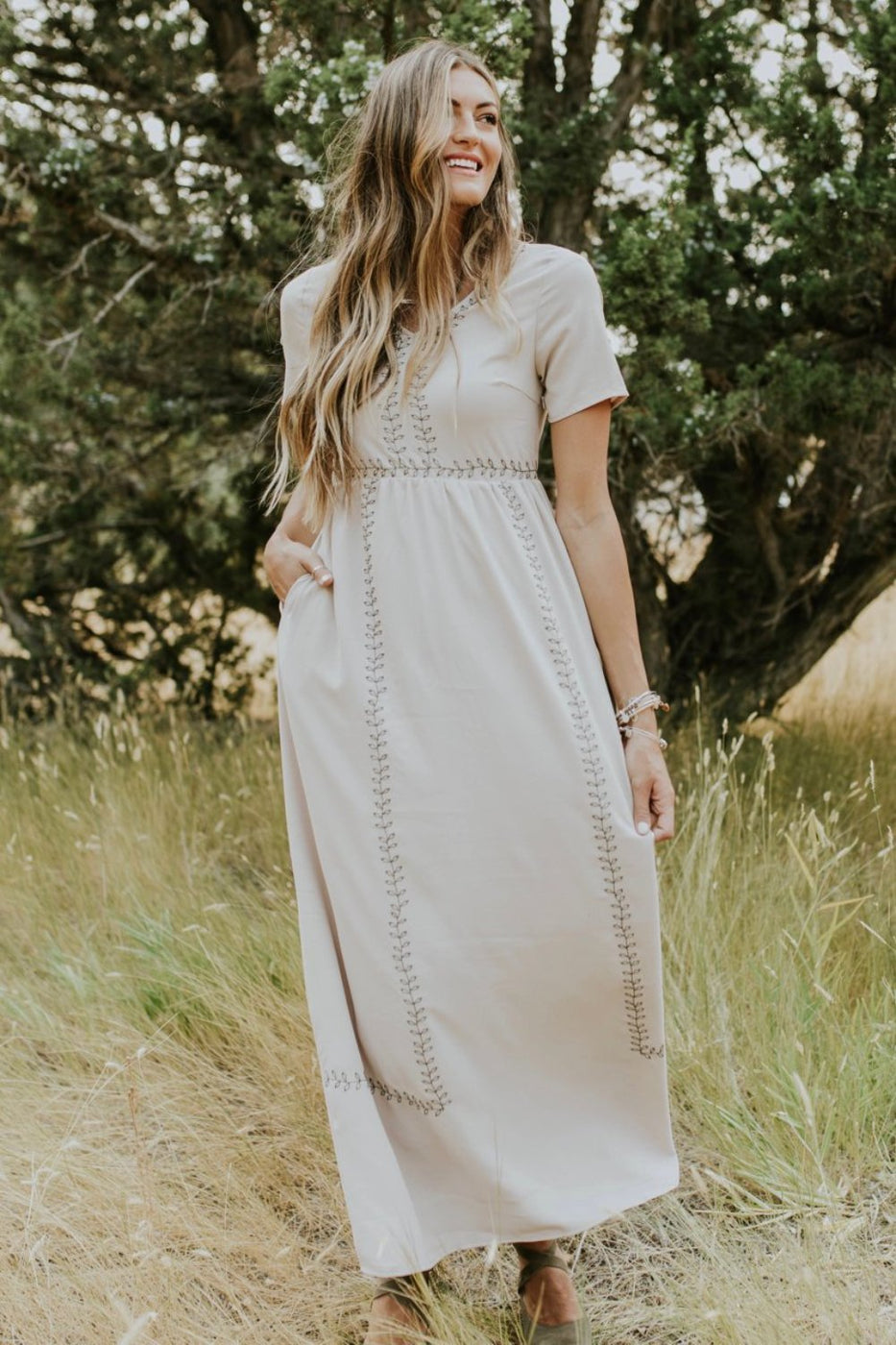 Ramona Embroidered Maxi in Taupe | ROOLEE