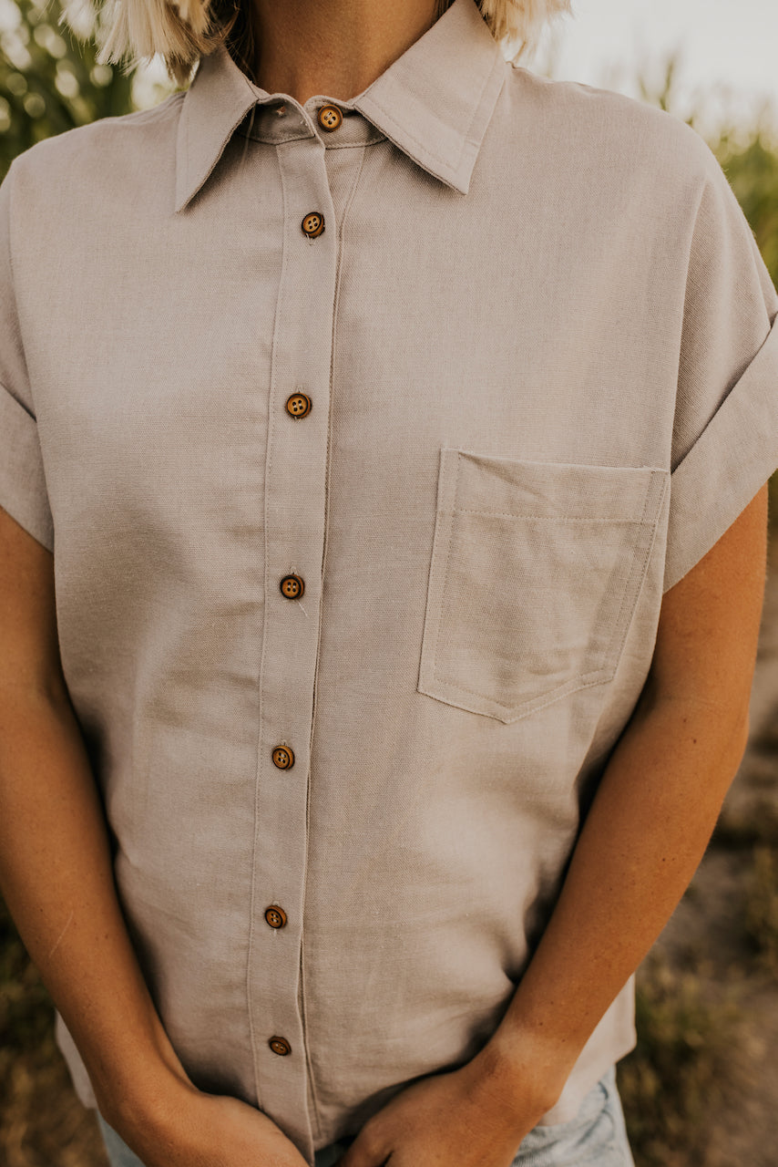 Trendy Collared Button Up Top | ROOLEE