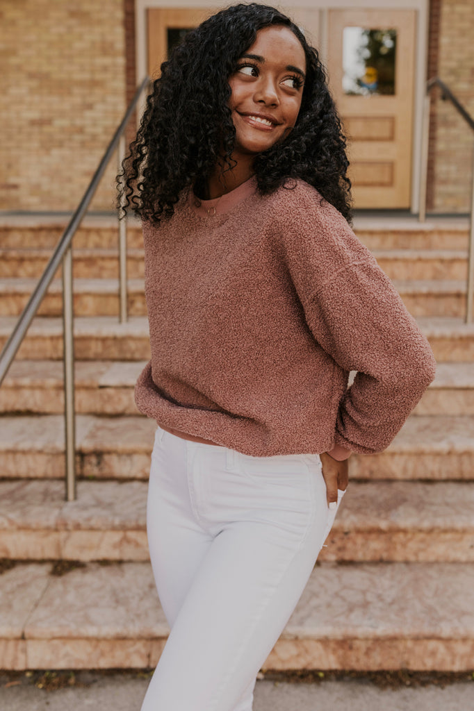 Pink Sherpa Pullover | ROOLEE