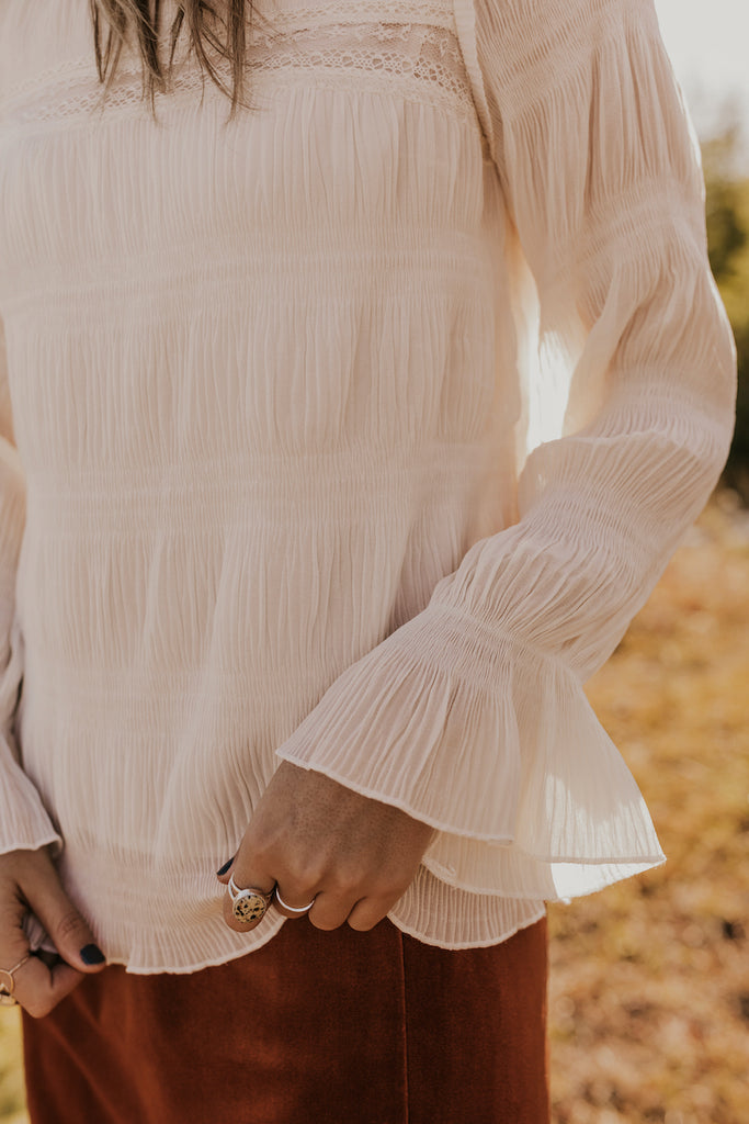 Bell Sleeve Cream Blouse | ROOLEE