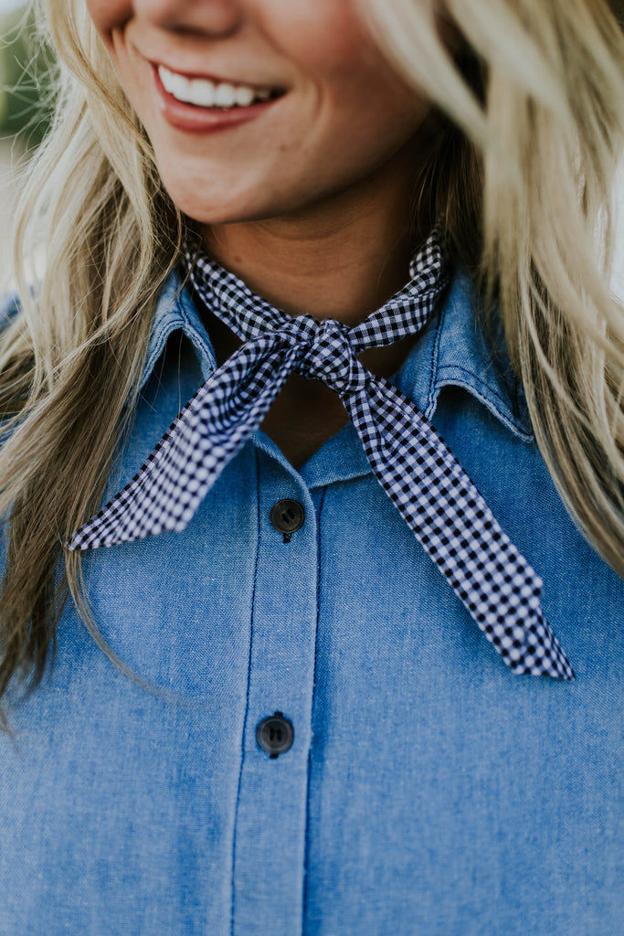 Rhodes Gingham Ascot in Black | ROOLEE