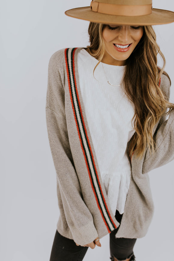 Grey Cardigan with Multi Stripe | ROOLEE