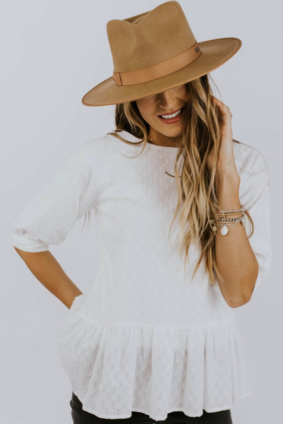 White Textured Peplum Top | ROOLEE