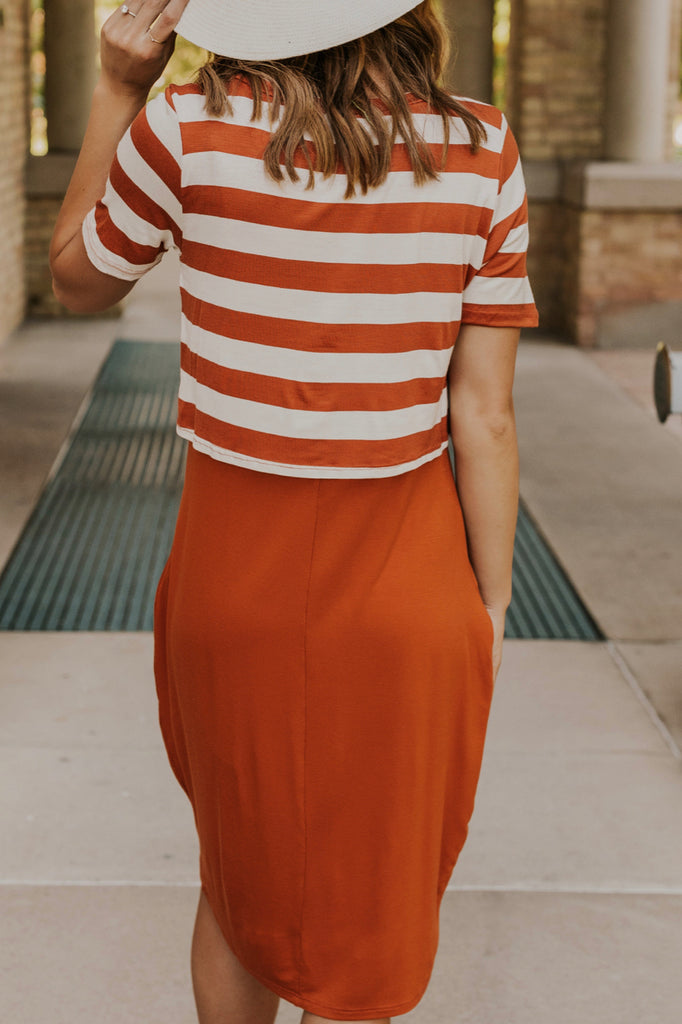 Striped Nursing Friendly Dress | ROOLEE