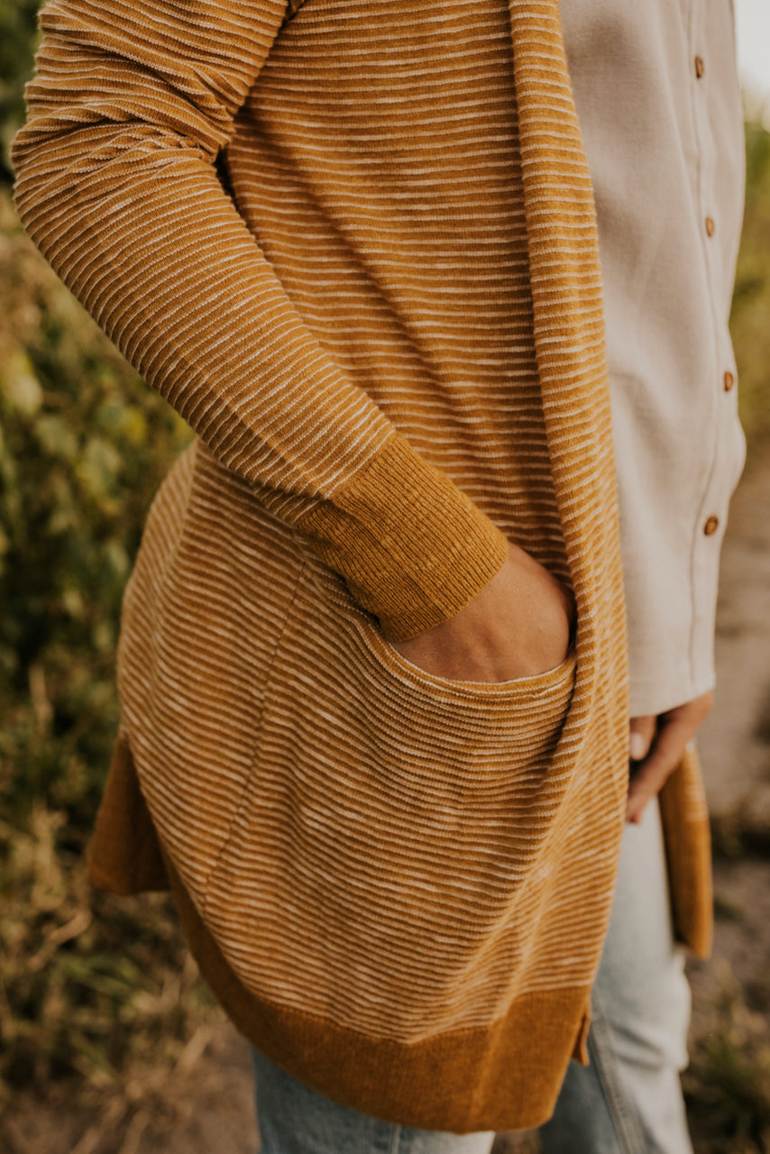 Midi Pocket Cardigan in Mustard for Winter | ROOLEE