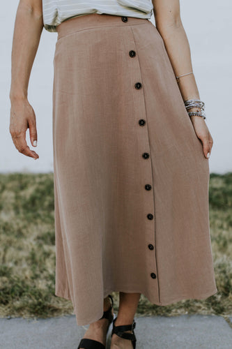 McCoy Linen Midi Skirt in Brown | ROOLEE