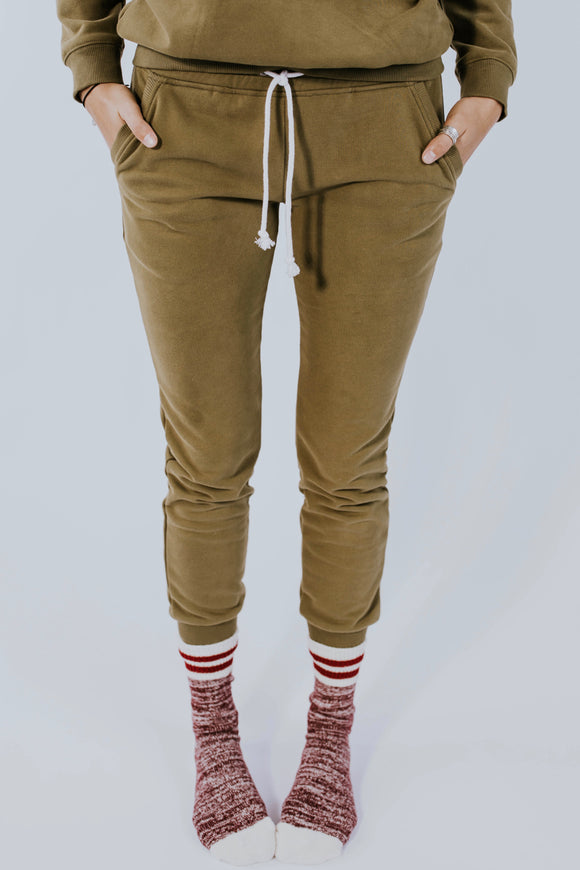 Lounge Around Sweatpants in Olive | ROOLEE