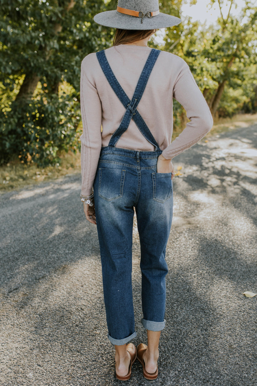 Distressed Denim Overalls Outfit | ROOLEE