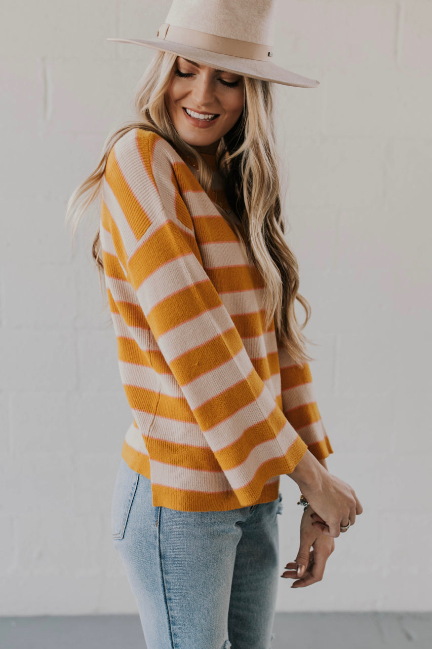 Mustard Stripe Sweater Outfit Ideas | ROOLEE