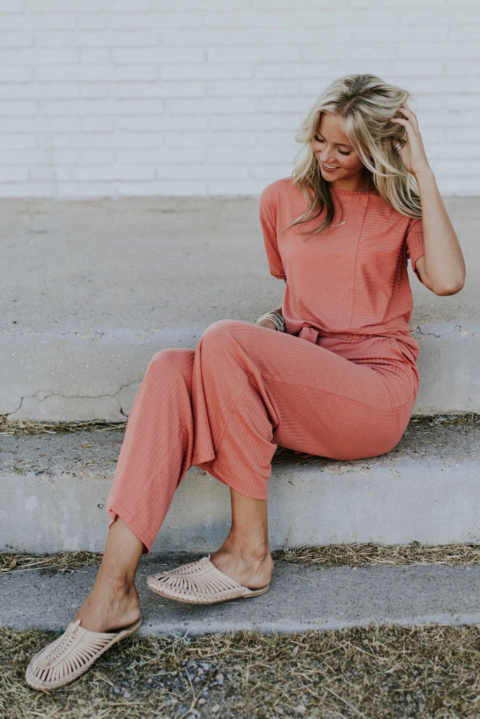 Marsala Pink Casual Pants | ROOLEE