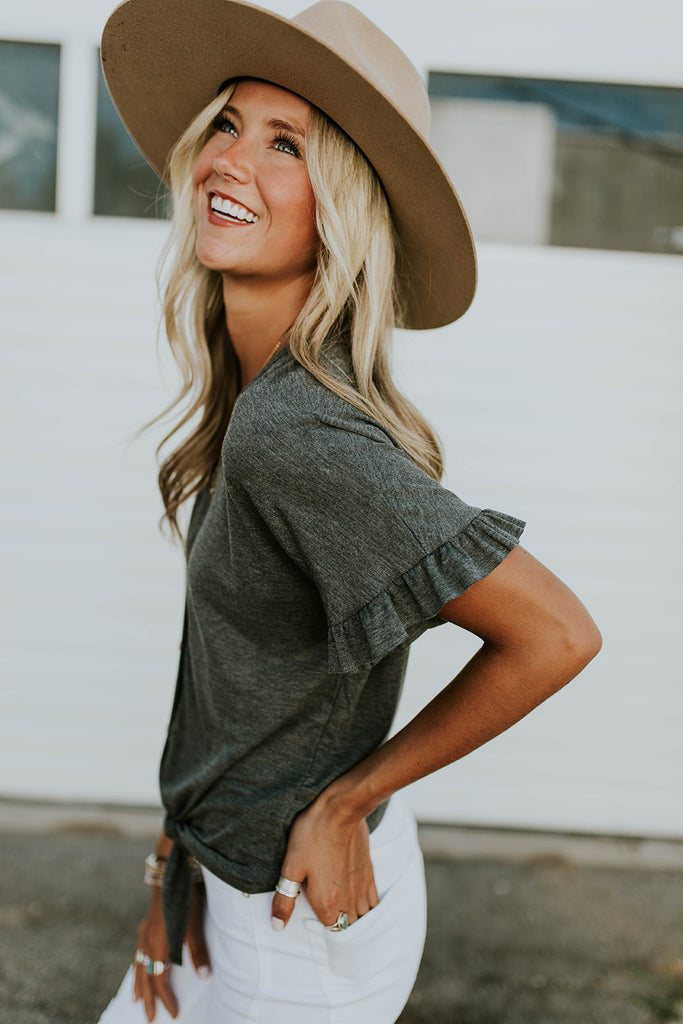 Short Ruffle Sleeve Top in Charcoal | ROOLEE