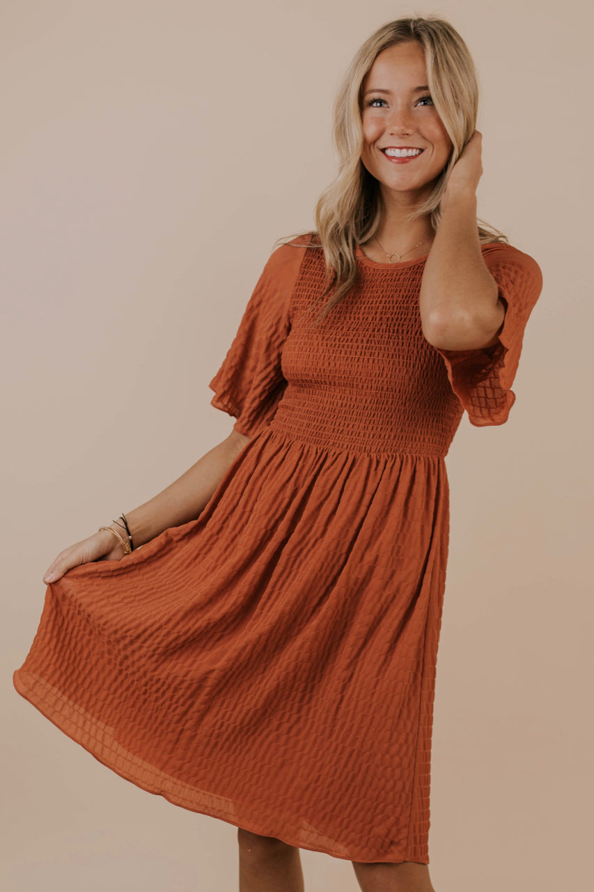 Rust A Line Dress Outfit | ROOLEE