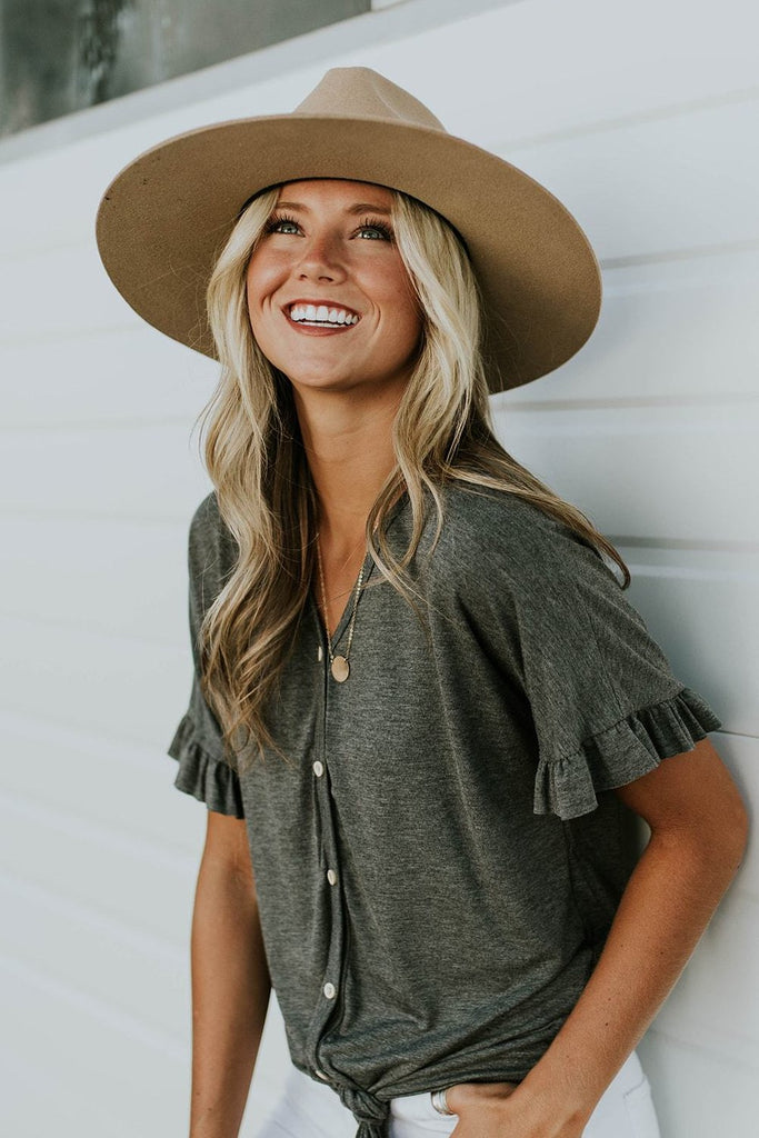 Boston Avenue Tie Blouse in Charcoal | ROOLEE