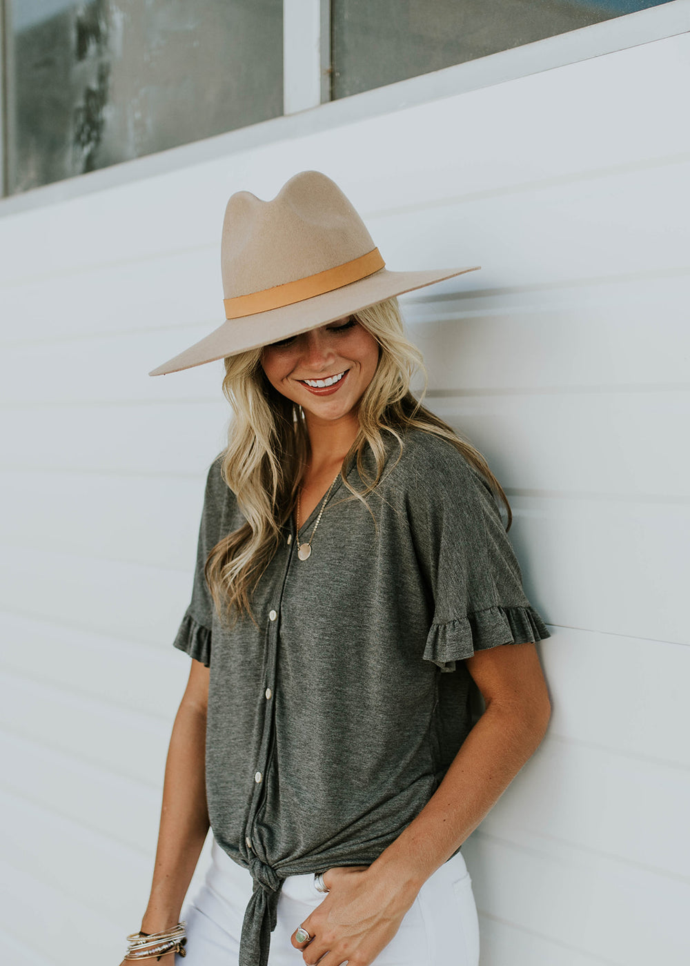 Button Up Tie Blouse | ROOLEE