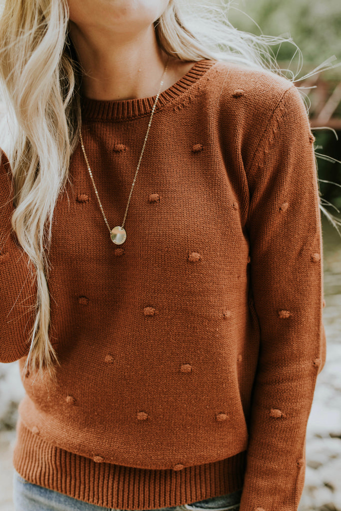 Meadowbrook Detail Sweater in Copper | ROOLEE