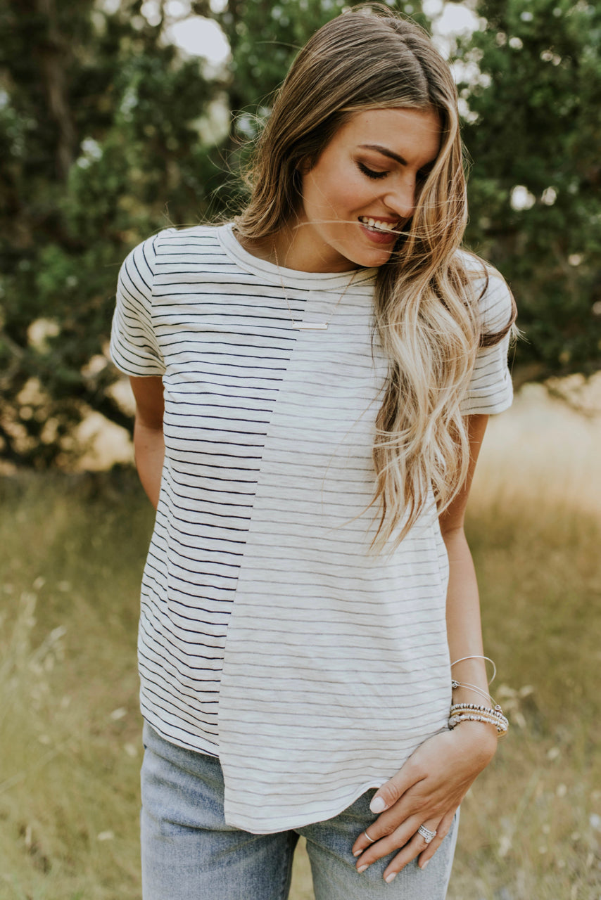 Basic Stripe Tee Outfit For Women | ROOLEE