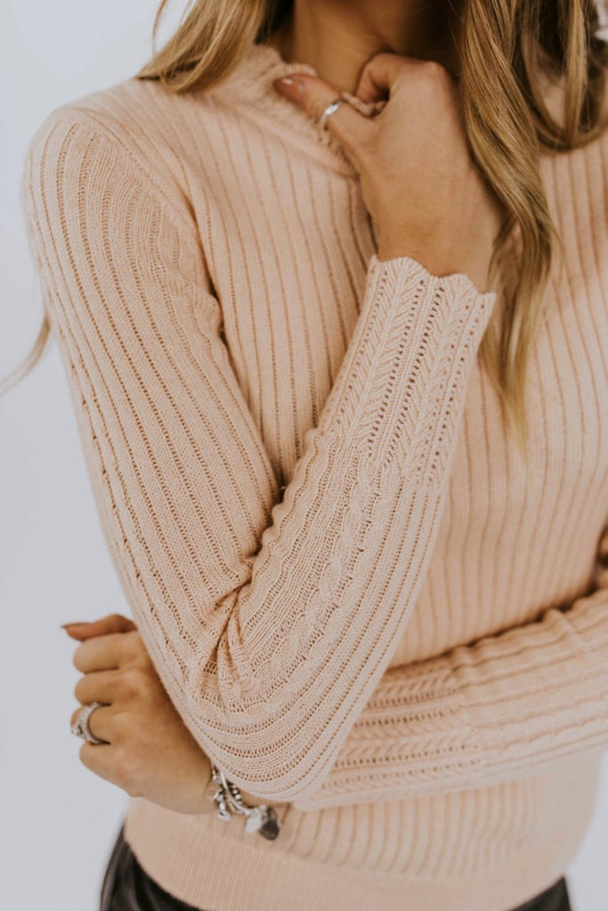 Blush Pink Ribbed Sweater | ROOLEE