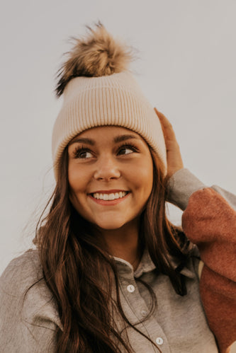 Ivory Winter Pom Hat | ROOLEE