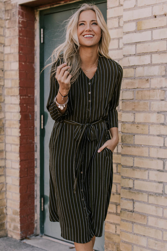 Olive Striped Button Dress | ROOLEE