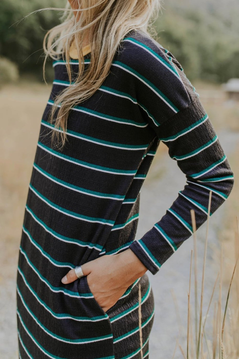 Long Sleeve Textured Stripe Dress in Navy | ROOLEE