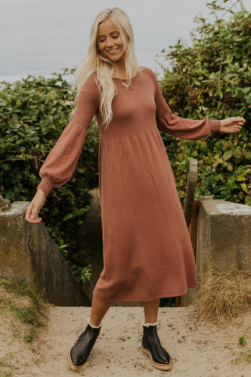 Long sleeve mauve layering dresses | ROOLEE