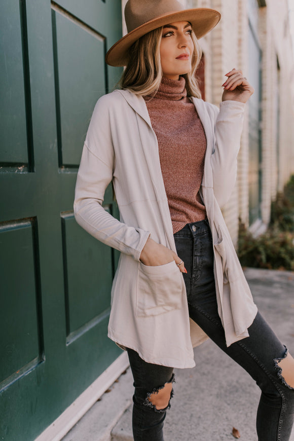 French Terry Cardigan with Hood and Pockets | ROOLEE