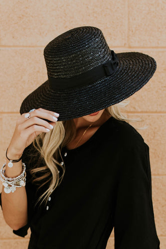 Faye Straw Boater Hat in Black | ROOLEE