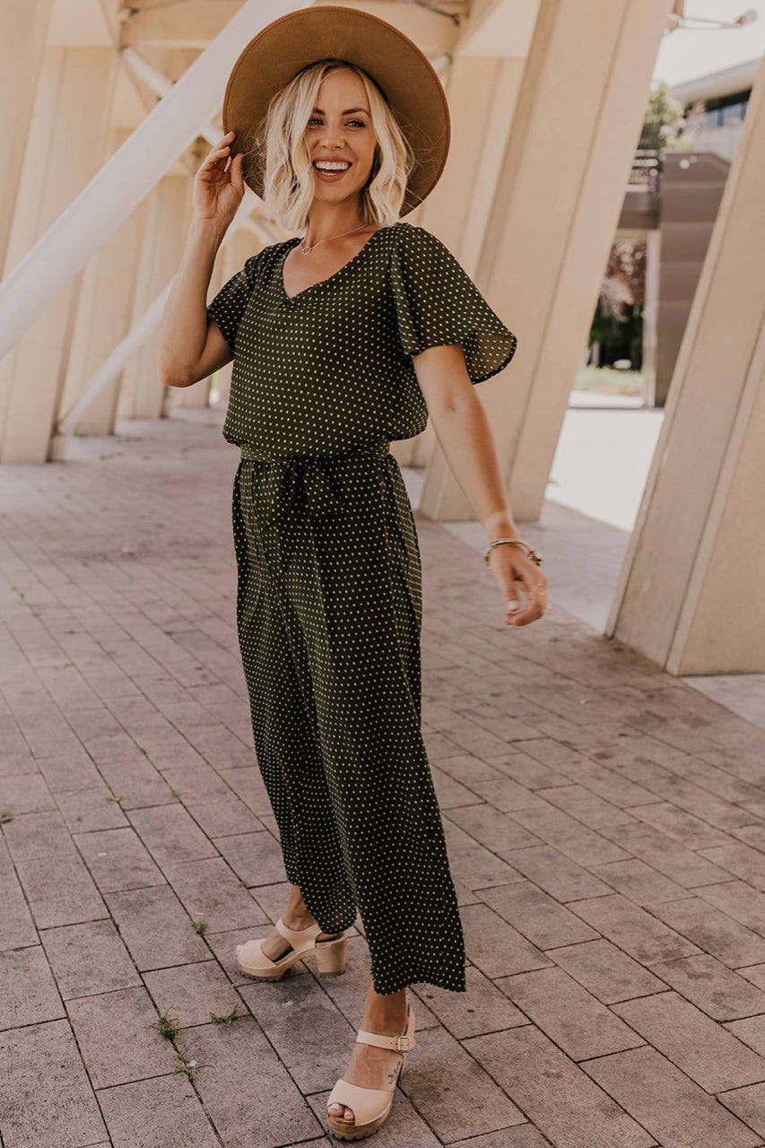 Wide Leg Green Jumpsuit | ROOLEE
