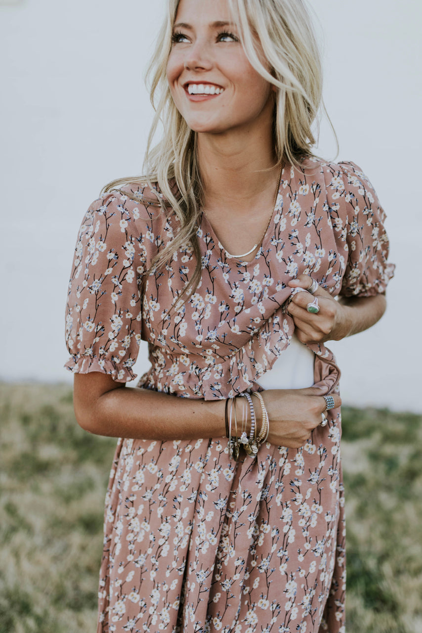 Nursing Friendly Floral Maxi in Mauve | ROOLEE
