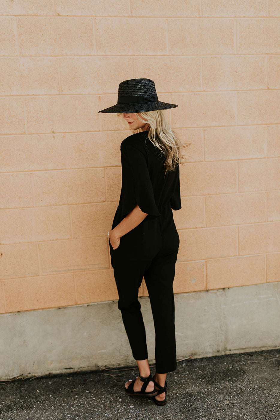 Black Half Sleeve Button Up Jumpsuit | ROOLEE