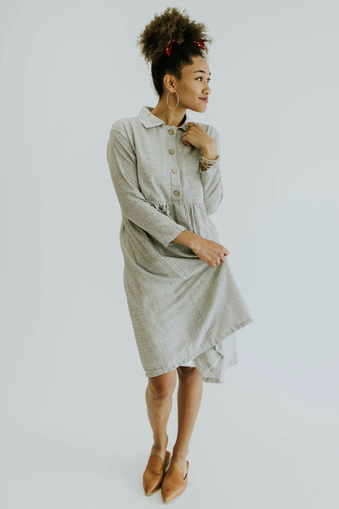 Tiny Stripe Grey Dress | ROOLEE