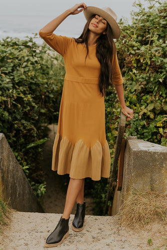 Gold pleated dress | ROOLEE