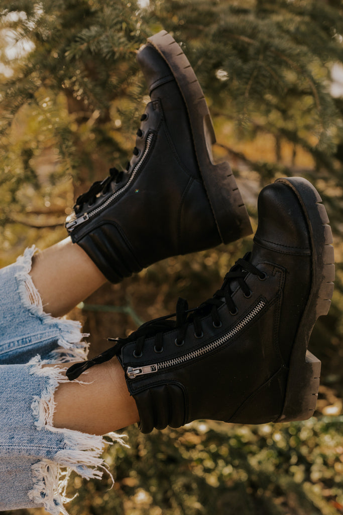 Black Lace Up Booties | ROOLEE