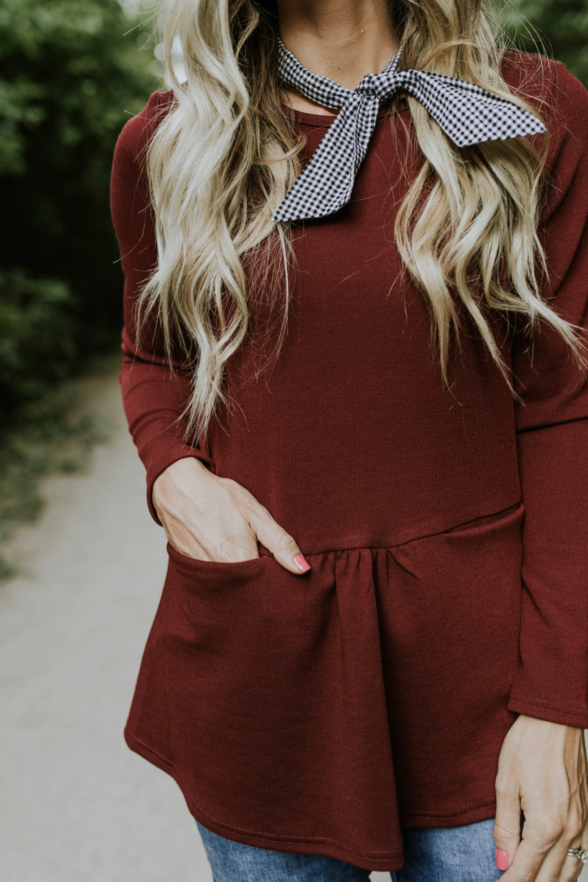 Berlin Pocket Peplum in Burgundy | ROOLEE